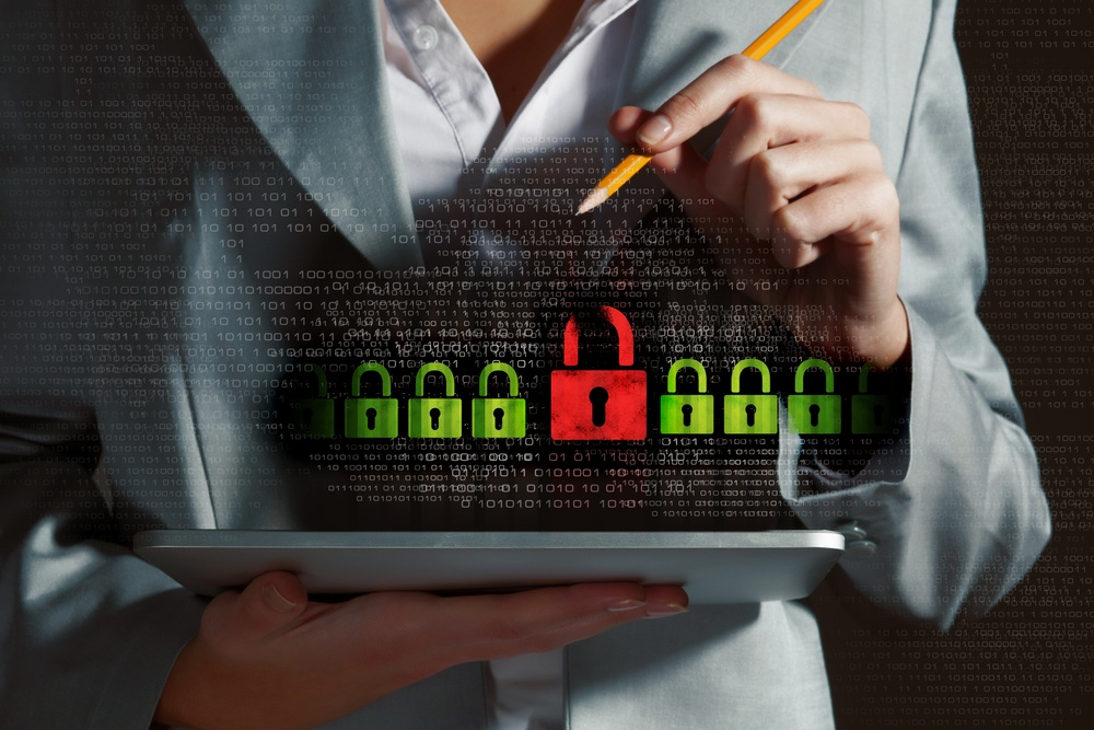 Business woman unlocking data without proper cyber security